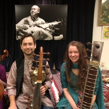 After my first concert on the stage at the Ali Akbar College of Music, where I performed a piece of my teacher Alam Khan's, in an ensemble with Manik Khan and Nazan Aktas.