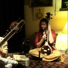 Playing tanpura for Arjun Verma at the Ali Akbar College of Music, March 2016